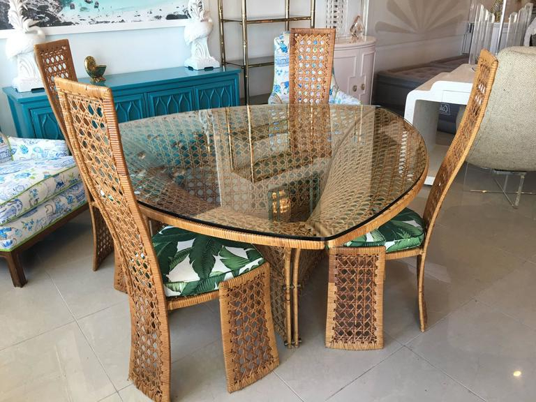 Well Liked Wicker And Glass Dining Tables Intended For Danny Ho Fong Dining Table Set Four Side Chairs Rattan Wicker (View 9 of 20)