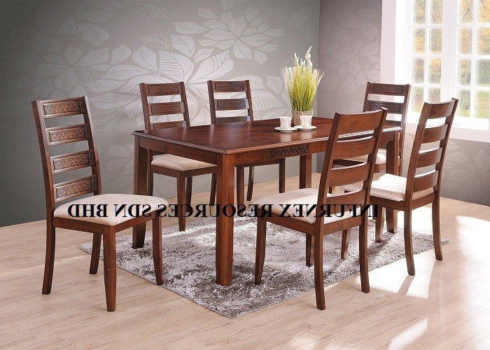 Well Liked Wooden Dining Tables And 6 Chairs Pertaining To Solid Rubberwood,dining Set (1+6),dining Table,dining Chair – Buy (Gallery 3 of 20)