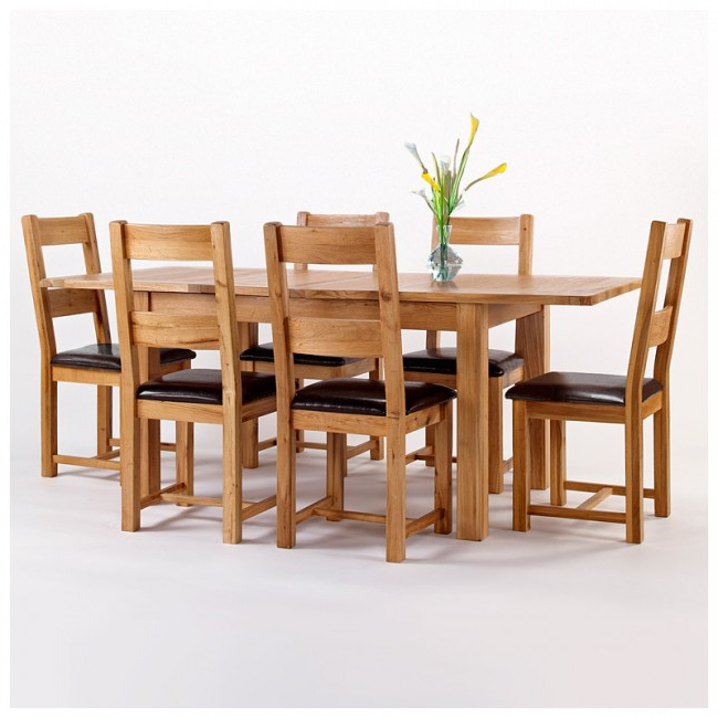 Westbury Rustic Oak Extending Dining Table Set (Gallery 18 of 20)