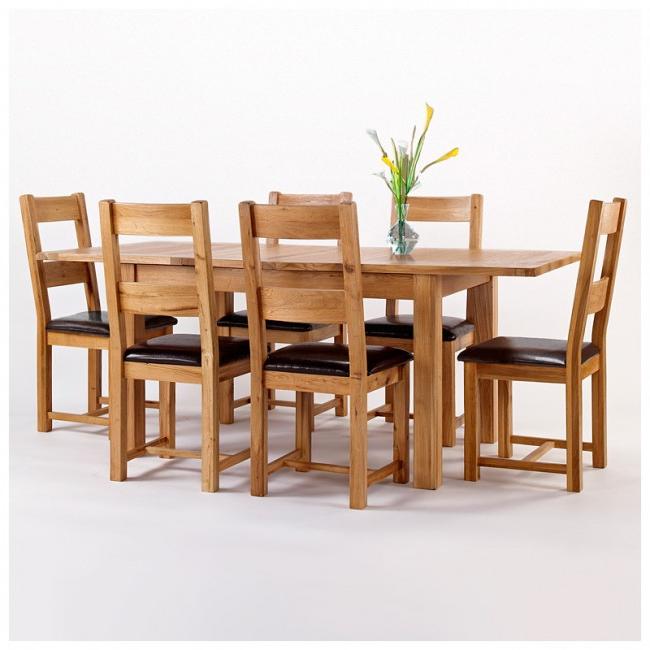 Westbury Rustic Oak Extending Dining Table Set (Gallery 18 of 20)