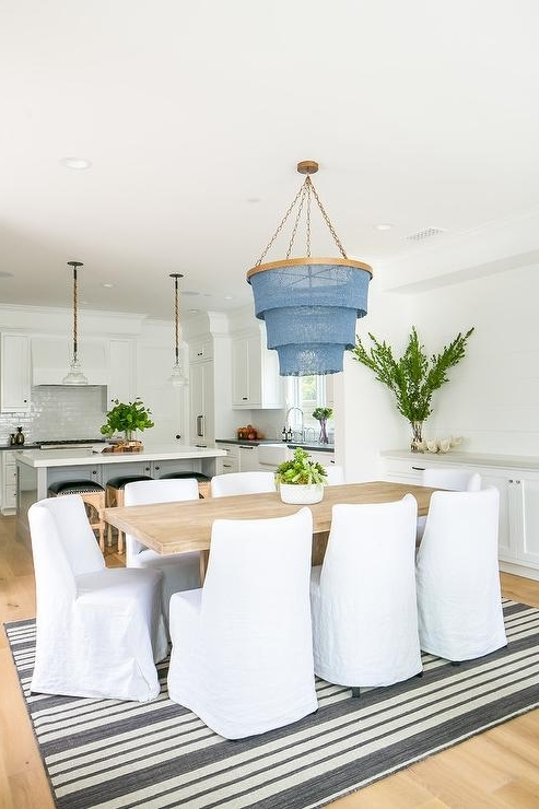 White And Blue Striped Slipcovered Dining Chairs Design Ideas In Recent Blue Stripe Dining Chairs (View 13 of 20)