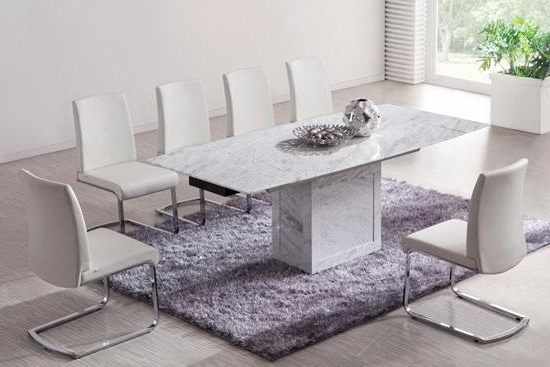 White/brown Extending Dining Table (Marble) – Kk Furniture Supplier With Regard To Widely Used Extending Marble Dining Tables (View 19 of 20)