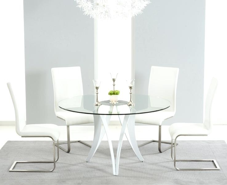 White Circle Dining Tables With Most Popular Round Glass Dining Table Set Uk – Modern Computer Desk (View 19 of 20)