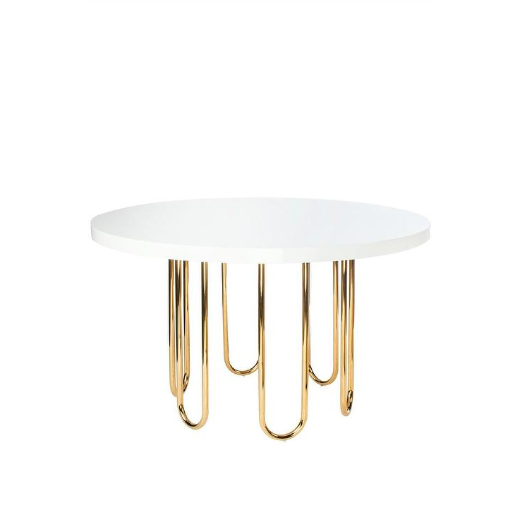 White Circle Dining Tables Within Latest Willow Gold White Round Dining Table (View 19 of 20)
