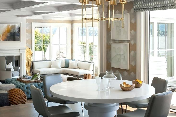 White Circular Dining Tables Inside Most Recent Gray Round Table Dining Tables Gray Round Dining Table Gray Dining (View 7 of 20)