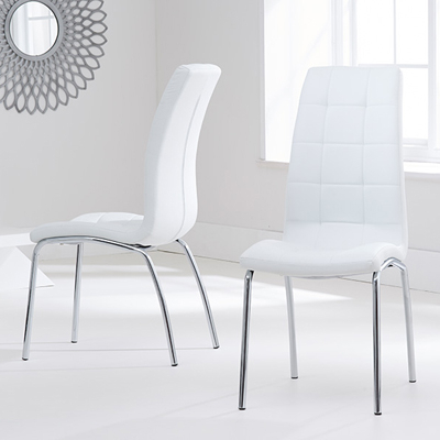 White Dining Chairs Regarding Trendy Calgary White Dining Chairs (Pair) – Robson Furniture (Gallery 11 of 20)