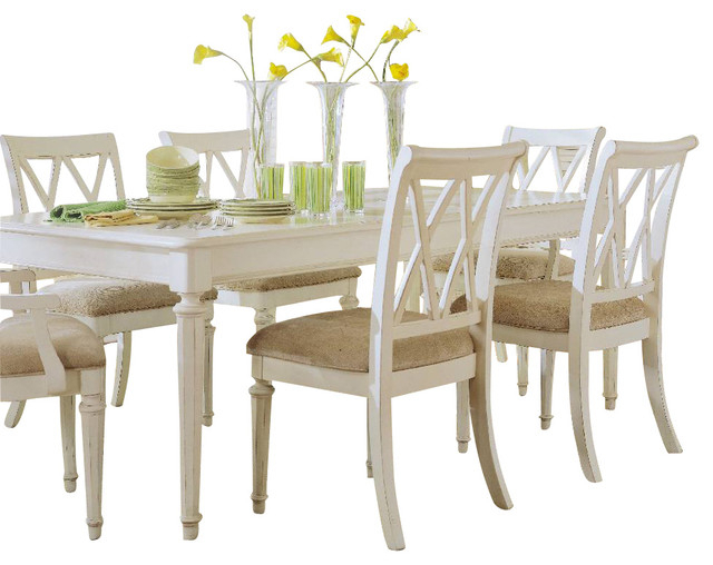White Dining Sets For Popular American Drew Camden Light 8 Piece Leg Dining Room Set In White (View 18 of 20)