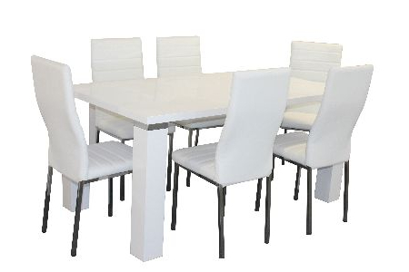White Dining Suites With Regard To Latest Waverley Chunky Leg 9 Pc Dining White With Napoli Chairs White (View 18 of 20)