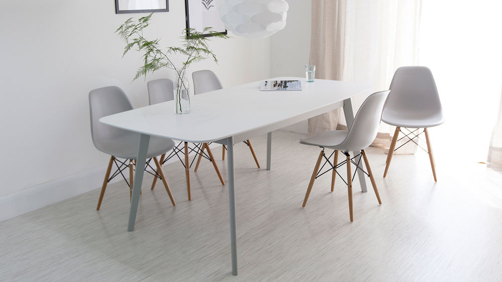 White Dining Tables For 2018 Aver Grey & White Extending Dining Table And Eames Chairs (View 6 of 20)