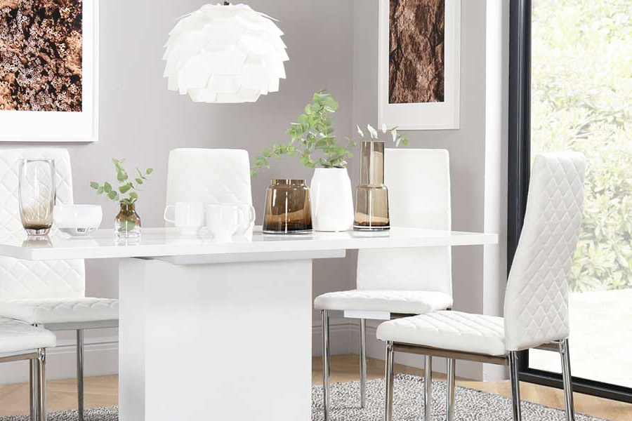 White Dining Tables Inside Well Liked White Dining Sets – White Dining Table & Chairs (Gallery 8 of 20)