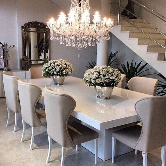 White Dining Tables Pertaining To Current Sleek White Table With Ivory/beige Dining Chairs, Top Off The (View 9 of 20)