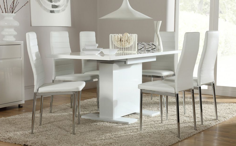 White Dining Tables With 6 Chairs Intended For Most Current Osaka White High Gloss Extending Dining Table And 6 Chairs (lunar (View 11 of 20)