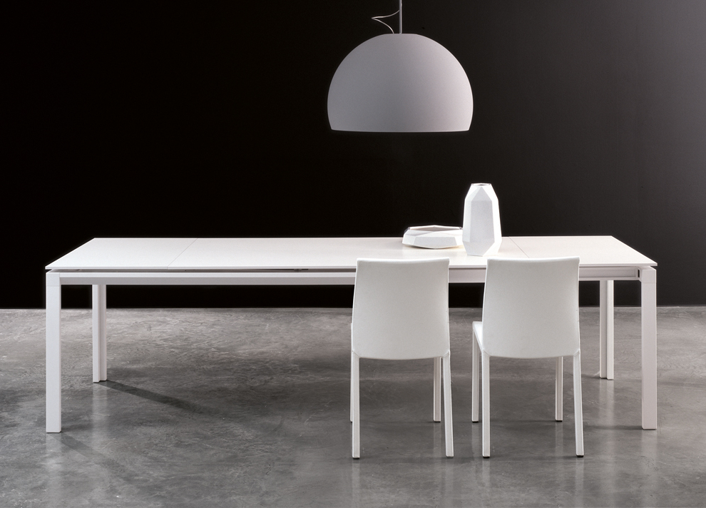 White Extendable Dining Tables With Regard To Most Recent Bonaldo Chat Double Extending Dining Table – Modern Extending Tables (View 9 of 20)