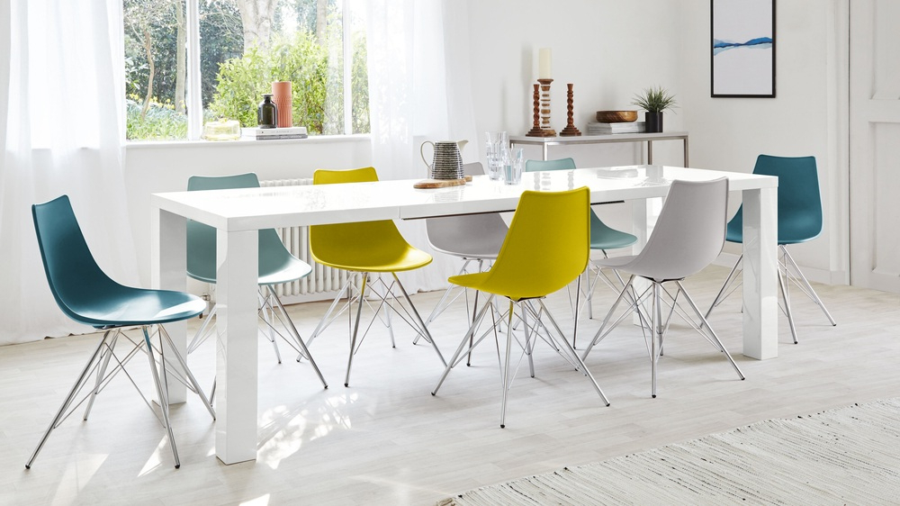 White Extending Dining Tables And Chairs For Favorite Fern White Gloss Extending Dining Table (View 15 of 20)