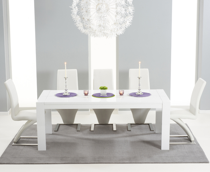 White Extending Dining Tables And Chairs Intended For Favorite Venice 200Cm White High Gloss Extending Dining Table With Hampstead (Gallery 19 of 20)
