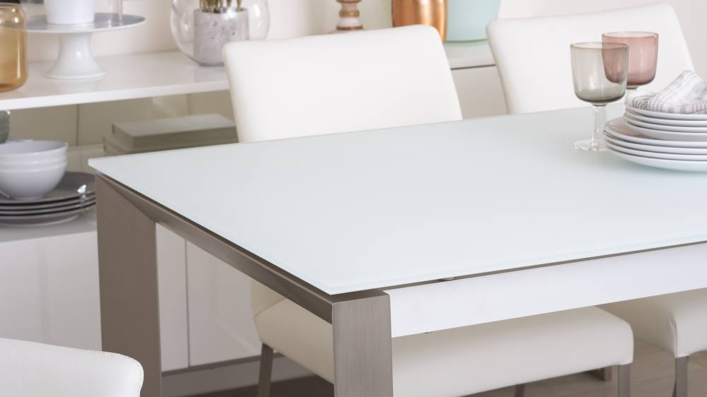 White Frosted Glass Extending Dining Table (View 18 of 20)