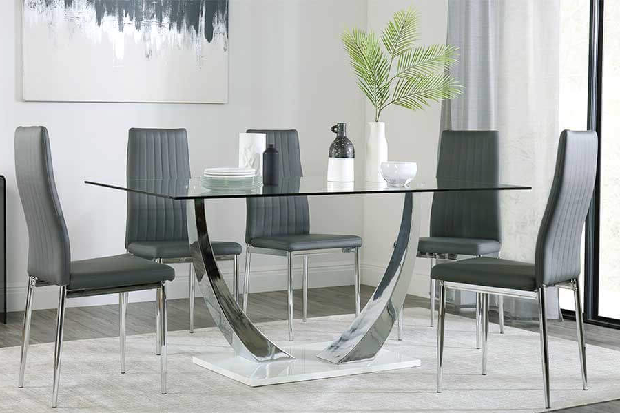 White Glass Dining Tables And Chairs With Regard To Current Glass Dining Table & Chairs – Glass Dining Sets (View 19 of 20)