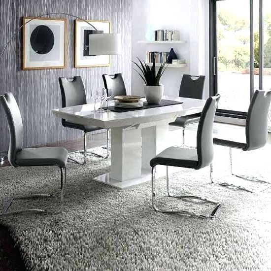 White Gloss Dining Room Tables With Regard To Most Popular High Gloss Dining Room Furniture High Gloss Dining Chairs White High (View 19 of 20)