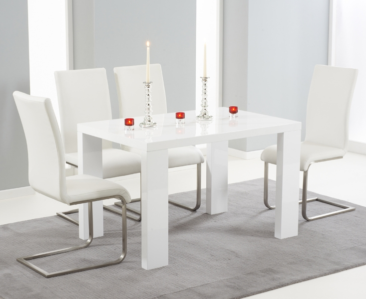 White Gloss Dining Sets Throughout Current Forde White High Gloss 150cm Dining Set With 4 Ivory White Boston Chairs (View 10 of 20)
