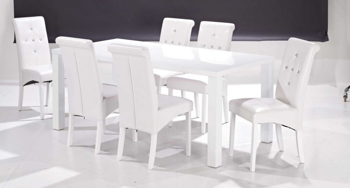 White Gloss Dining Table And 6 Chairs – Strawberryperl With Regard To Favorite White Gloss Dining Tables And 6 Chairs (View 13 of 20)