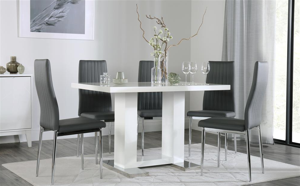 White Gloss Dining Tables 120cm Within Popular Joule White High Gloss Dining Table With 6 Leon Grey Chairs Only (View 19 of 20)