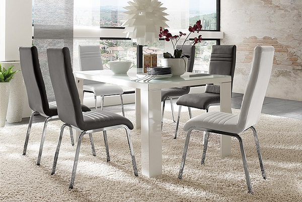 White Gloss Dining Tables 140Cm With Preferred Tizio Glass 140Cm Dining Table In White Gloss With 6 Dora (View 20 of 20)