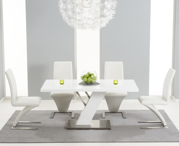 White Gloss Dining Tables Sets Inside Well Known Palma 160Cm White High Gloss Dining Table With Hampstead Z Chairs (View 16 of 20)