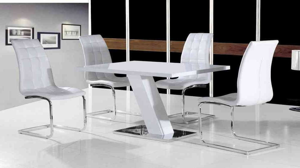 White Gloss Dining Tables Sets Regarding Current White High Gloss Dining Table Set And 4 Chairs – Homegenies (View 13 of 20)