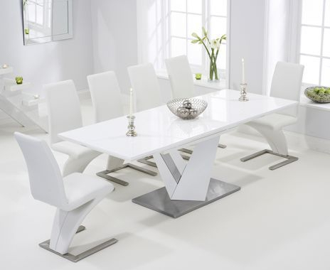 White Gloss Extending Dining Tables For Widely Used View Large Image Of Harmony 160cm White High Gloss Extending Dining (View 5 of 20)