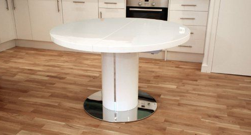 White Gloss Round Extending Dining Tables Inside Current White High Gloss And 1200mm Extending To 1600mm Curva Round White (View 6 of 20)