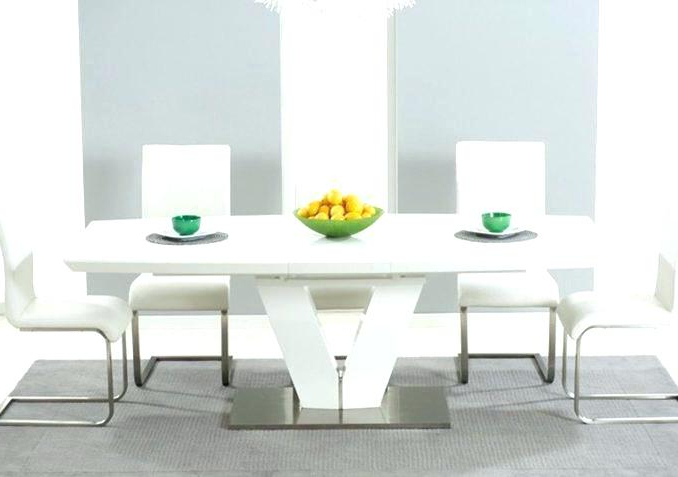 White Gloss Round Extending Dining Tables With Trendy White Extending Dining Table And 6 Chairs Full Size Of Table For  (View 18 of 20)
