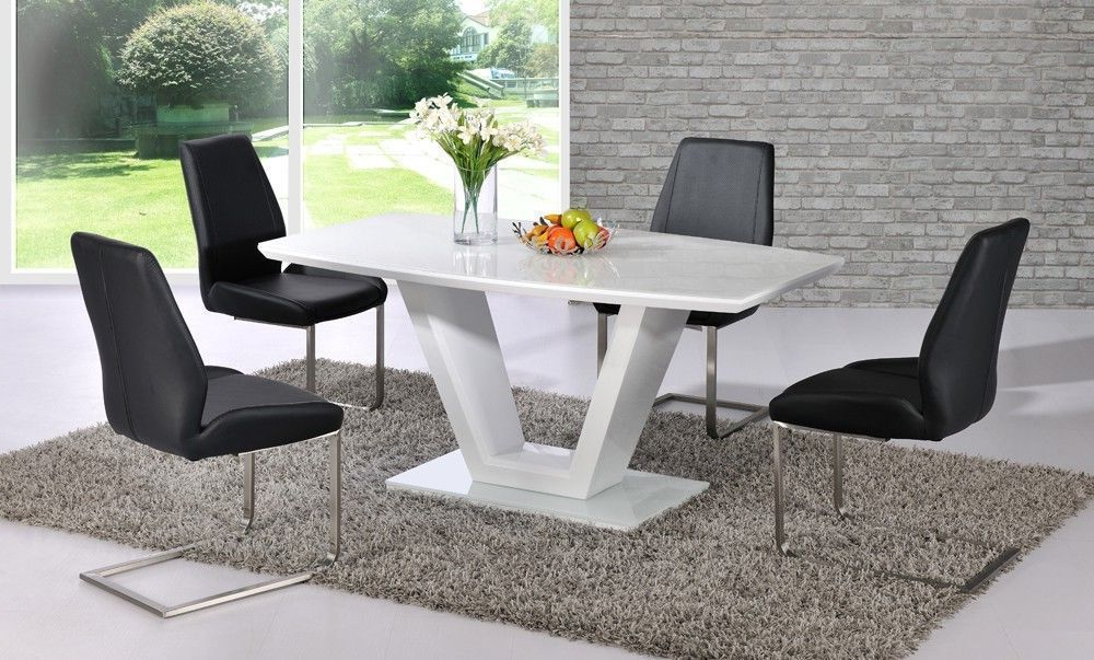 White High Gloss Dining Table With Glass Top And 6 Black Chairs Pertaining To Current White Gloss Dining Tables And 6 Chairs (View 10 of 20)