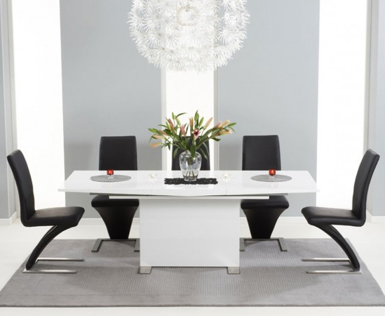 White High Gloss Dining Tables 6 Chairs Regarding Best And Newest Marila 150cm White High Gloss Dining Table With 6 Hereford Black (View 9 of 20)