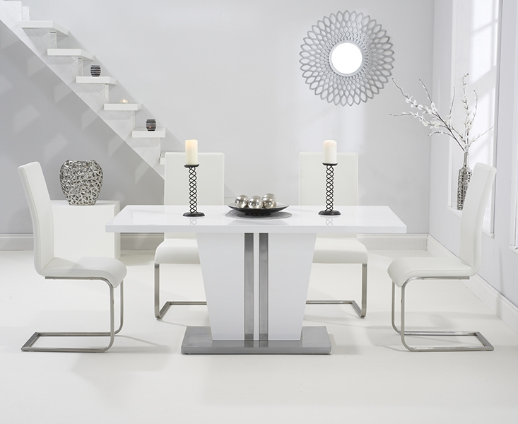 White High Gloss Dining Tables And 4 Chairs Throughout Well Known Grand White High Gloss 160cm Dining Table With 4 Ivory White Boston (View 8 of 20)