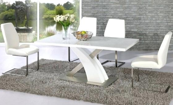 White High Gloss Dining Tables And Chairs Intended For Latest High Gloss Dining Table Sets White Gloss Dining Table And Chairs (View 7 of 20)