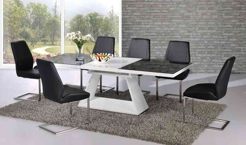 White High Gloss Extending Dining Table With 8 Chairs – Glass Top With Regard To Most Current Extendable Dining Tables With 8 Seats (View 19 of 20)