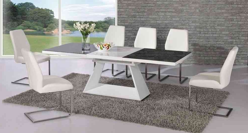 White High Gloss Extending Glass Dining Table And 6 Chairs Throughout Trendy Black Gloss Dining Room Furniture (View 20 of 20)