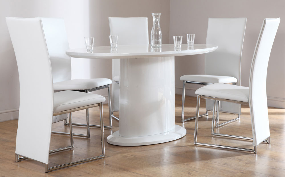 White High Gloss Oval Dining Tables Throughout Well Known Monaco White High Gloss Oval Dining Table And 4 Chairs Set, White (View 19 of 20)
