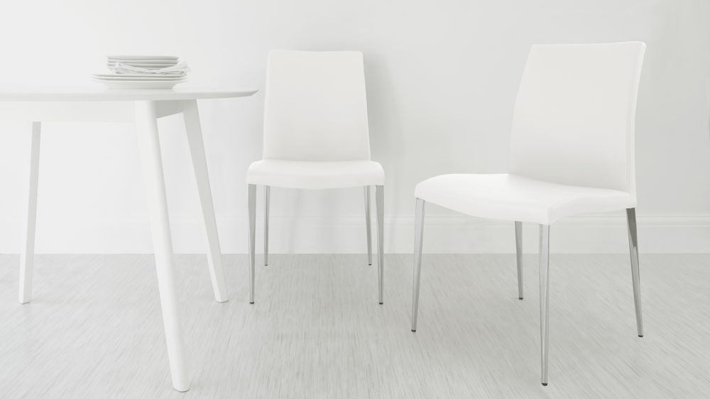 White Leather Dining Chairs For Newest Modern Dining Chair (View 17 of 20)