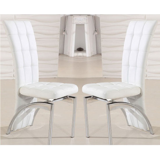 White Leather Dining Chairs Intended For Most Up To Date Ravenna Dining Chair In White Faux Leather In A Pair  (View 19 of 20)