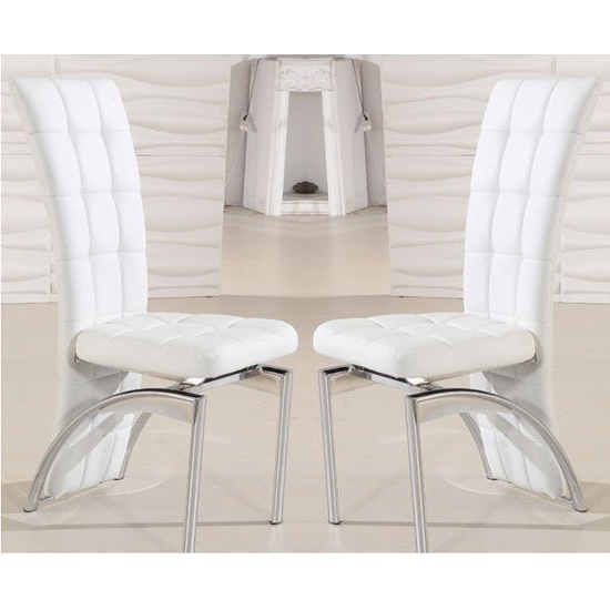White Leather Dining Room Chairs Regarding Preferred Ravenna Dining Chair In White Faux Leather In A Pair (View 7 of 20)