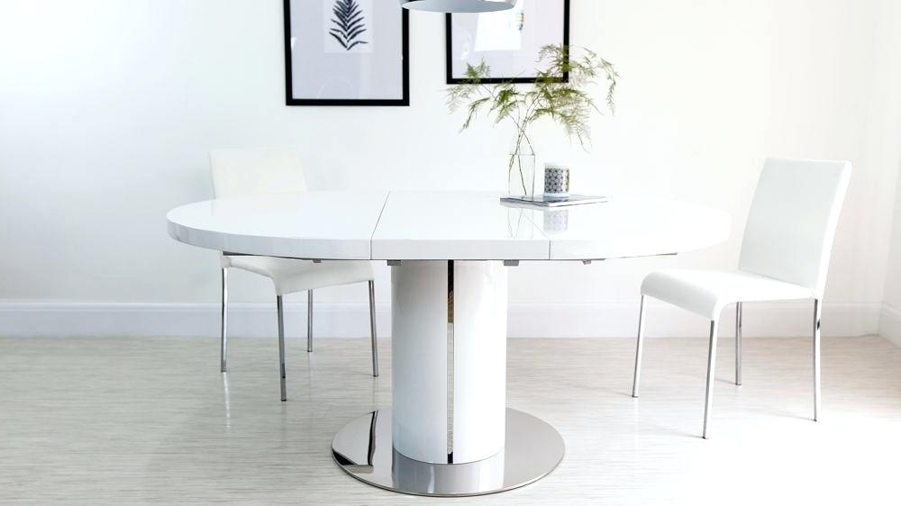 White Round Extendable Dining Table Extending Dining Table Chairs Inside Most Popular Round White Extendable Dining Tables (View 7 of 20)