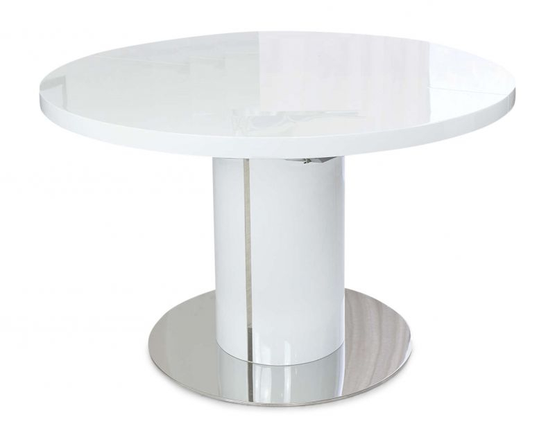 White Round Extending Dining Tables For Latest Romeo Round White High Gloss Extending Dining Table (View 5 of 20)