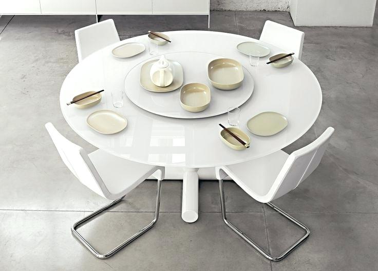 White Round Extending Dining Tables With Latest Round White Gloss Extending Dining Table And Real Leather Dining (View 16 of 20)
