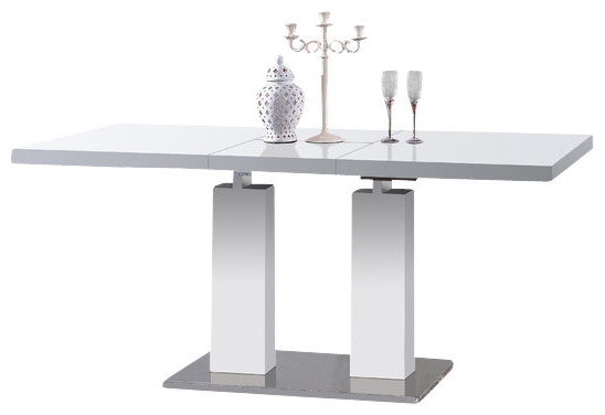 White Square Extending Dining Tables Pertaining To Most Current Samis Expandable Dining Table, White – Modern – Dining Tables – (View 20 of 20)
