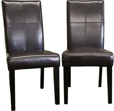Wholesale Interiors 2366 Brn Hail Leather Dining Chairs Set Of Two Intended For Latest Dark Brown Leather Dining Chairs (View 20 of 20)