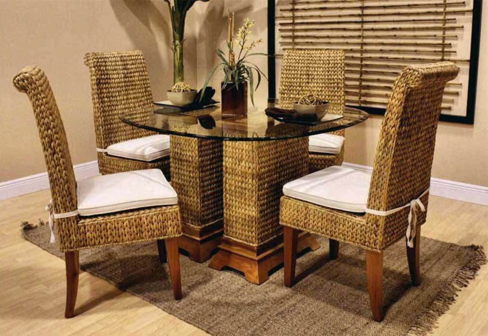 Wicker And Glass Dining Tables Intended For Widely Used Dining Table With Wicker Chairs Rattan Chair Dark Wood And Bamboo (View 4 of 20)