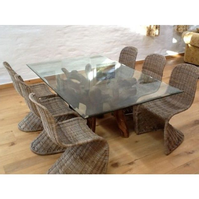 Wicker And Glass Dining Tables With Famous Reclaimed Teak Root Glass Topped Dining Table 1.8m X (View 5 of 20)