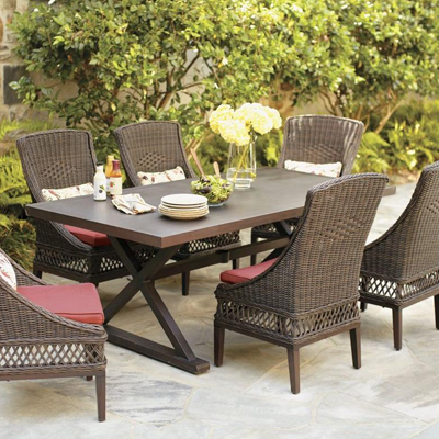 Wicker Patio Furniture Sets – The Home Depot In Well Known Outdoor Dining Table And Chairs Sets (View 19 of 20)