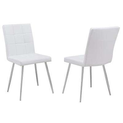 Widely Used 2 – White – Upholstered – Dining Chairs – Kitchen & Dining Room Pertaining To Jaxon Upholstered Side Chairs (View 5 of 20)